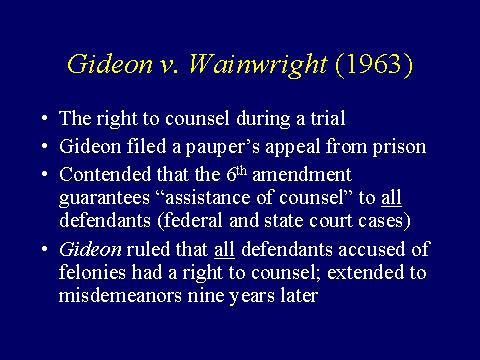 a review of the facts of the popular case gideon vs wainright This month we spotlight the landmark criminal procedure case gideon v wainwright (1963) the individual at the center of this case, clarence gideon, sent a handwritten petition to the supreme court challenging his conviction for breaking into a florida pool hall he argued that he did not have a.